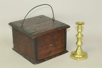 A VERY RARE 18TH C LIBERTY TREE DECORATED WALNUT FOOTWARMER WITH INITIALS C H