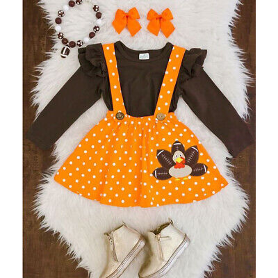 2pcs Kids Baby Girl Thanksgiving Clothes Tops- Strap Turkey Dot Skirt Outfit Set