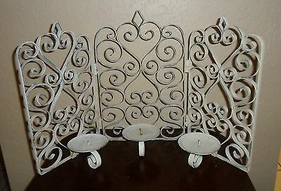 LARGE - HEAVY OLDER PRIMITIVE CHIC SCROLLED METAL WALL OR  COUNTER CANDLE HOLDER
