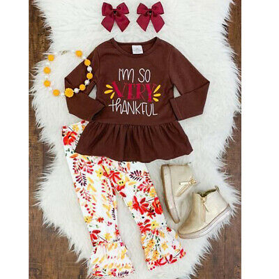 Thanksgiving Toddler Baby Girls Tops-Floral Pants Leggings Outfits Set US Stock