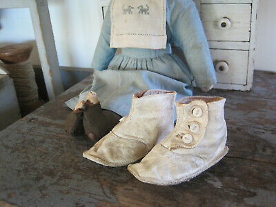 Dated 1910 Pair of White Leather Baby Doll  High Top Shoes with Three Buttons