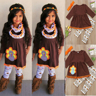 3PCS Toddler Baby Girls Thanksgiving Clothes Dress Tops Pants Turkey Outfits