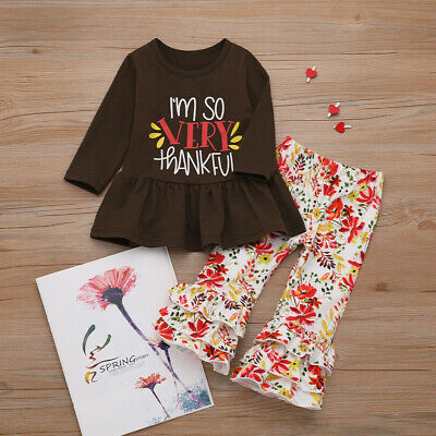 Cute Toddler Baby Girl Thanksgiving Tops Dress Floral Pants Leggings Outfit Set
