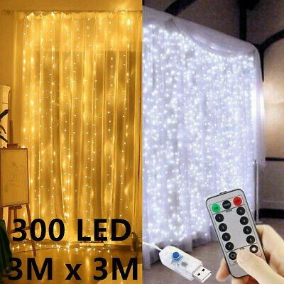 300 LED Curtain Lights String 3m3m USB Powered Waterproof Twinkle Wall Lights