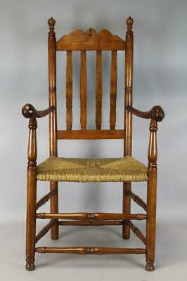 A RARE 18TH C LONG ISLAND NY BANNISTER BACK ARMCHAIR WITH BEST RAMS HORN ARMS