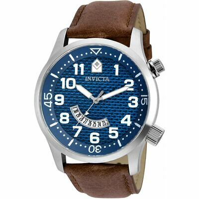 Invicta Mens Watch Specialty Quartz Blue Dial Brown Leather Strap 30820