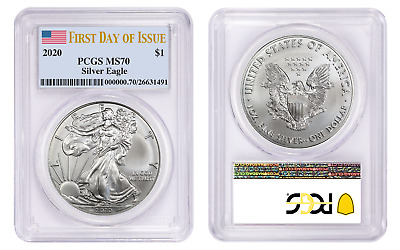 Presale 2020 1 American Silver Eagle PCGS MS70 First Day of Issue Flag Label