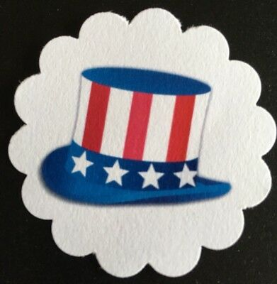 60 Patriotic Uncle Sam 4th Of July 🇺🇸 Paper Gift Tags Favor Tags