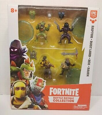Fortnite Battle Royale Collection Squad Four Pack Raptor Rust Lord Rex Raven New