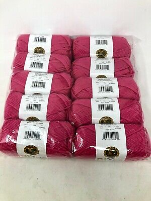 NIB Lion brand  hot pink acrylic yarn LOT  of 10 Skeins 650 yards total MSRP 45