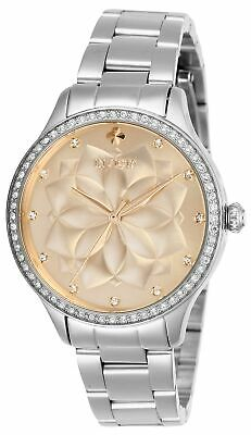 Invicta Womens Wildflower 28053 35mm Rose Gold Dial Stainless Steel Watch