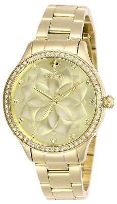 Invicta Womens Wildflower 28056 35mm Gold Dial Stainless Steel Watch