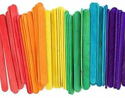 Multi Color 4-5 Wooden Craft Popsicle Sticks - Pack of 100 ct