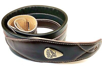 Legato Guitar Strap 3 Inches Wide Double Padded Soft Leather NEW w 3 Free Picks