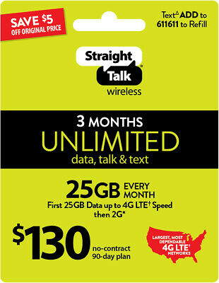 Straight Talk 130 Unlimited 3 Month 90 Day refill Plan Top Up