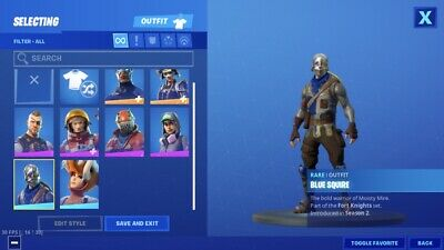 fortnite blue squire With OG Battle Bus banner PC And Mobile Only