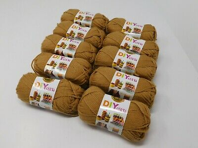 New LION brand Acrylic Camel Yarn 4 Medium Lot Of 10 Skeins 650 Yards MSRP 45