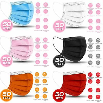 3-PLY Layer Disposable Face Mask Dust Filter Safety Respirator Breathable50-PC