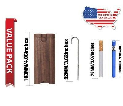 Wood Dugout Case with Metal Bat and Poker - 1 Free Quartz One Hitter- USA Seller