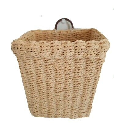NEW Wall Hanging Basket Decorative Pocket Leather Loop Home DecorFine Craft