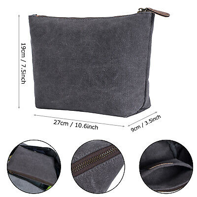 Toiletry Bag Travel Canvas Leather Makeup Organizer Cosmetic Waterproof Double