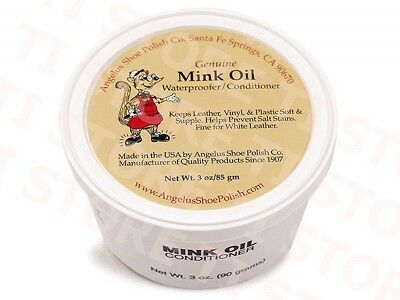 Angelus Mink Oil Paste Leather Waterproof - Conditioner 3oz Boots Shoes Jackets