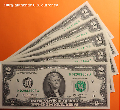 5 NEW 2 Bills Uncirculated Consecutive Serial Numbers Two Dollar FRN