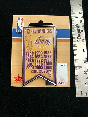 NEW 2020 Los Angeles Lakers 17 Time NBA Champions Banner Pin - LeBron Kobe Shaq
