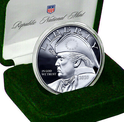 2020 Patriotic Trump Silver Eagle Coin with Gift Box - Certificate