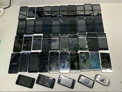 LOT OF 45 CELL PHONES SAMSUNG LG MOTOROLA ZTE - iPHONE FOR SALVAGE PARTS