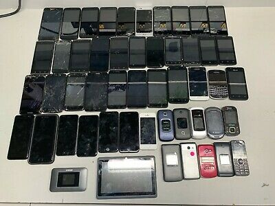 LOT OF 49 CELL PHONES SAMSUNG LG MOTOROLA ZTE - iPHONE FOR SALVAGE PARTS