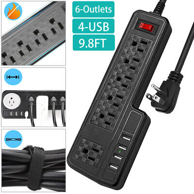 10ft Power Strip Surge protector with 4 USB ports Black Flat Plug Extension Cord