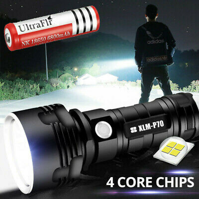 Shadowhawk Super-bright 90000lm Flashlight LED P70 Tactical Torch - battery