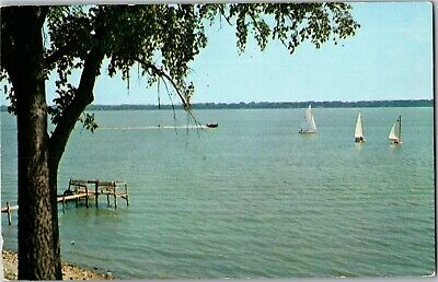 View from Templar Park, Sailboats on Spirit Lake IA Vintage Postcard N31