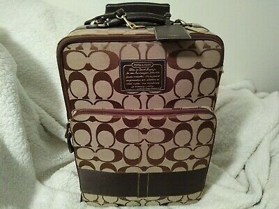 Coach Signature Stripe Boston Roller Carry-On Luggage 22 inch Rare