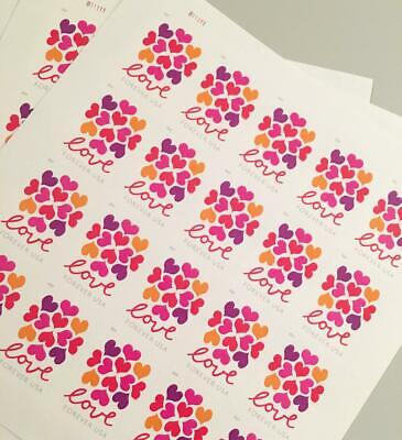 100 USPS Hearts Blossom Love Forever Stamps 5 Panes of 20