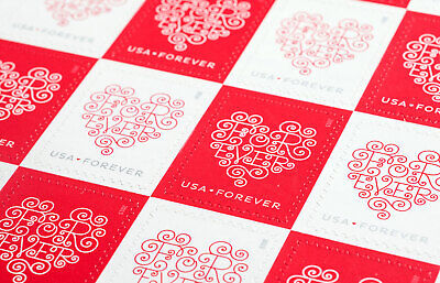 100 USPS Forever Hearts Forever Stamps 5 Panes of 20