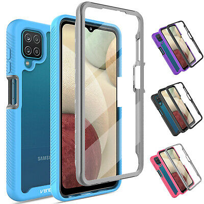 For Samsung Galaxy A12 Clear Case Hybrid Cover With Built-in Screen Protector