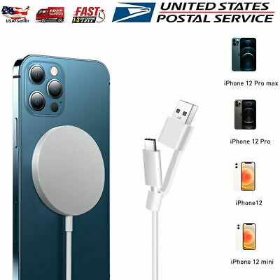 For iPhone 12 Pro Max MagSafe Wireless Charger Magnetic Fast Charging Pad Cable