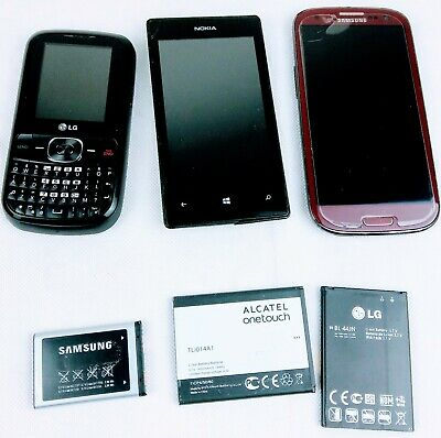 Cell phone Mixed Lot of 3 Samsung LG - Nokia 3 extra batteries