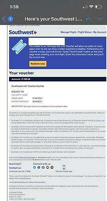 Southwest Airlines LUV Voucher 200 Expires 06092021 sent through email