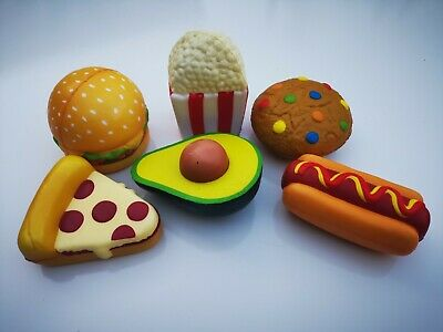 6 Pcs Squishes Kids Toy Slow Rising Burger Pizza Avocado Popcorn Cookie Hot Dog