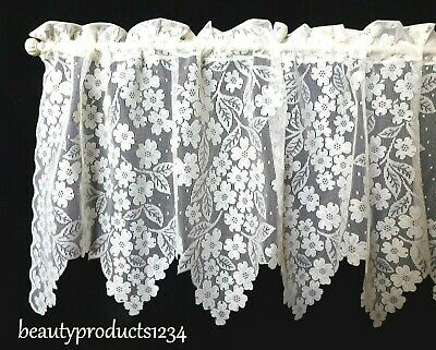 HERITAGE LACE White DOGWOOD Valance New in Pkg- 55 x 18 Made USA in the LACE