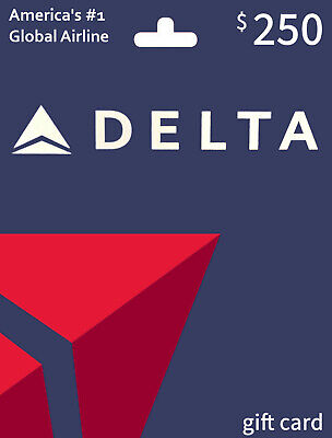 Delta Airlines 250 balance gift card