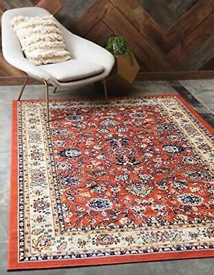 Unique Loom Kashan Collection Traditional Floral Overall Pattern with Border ...