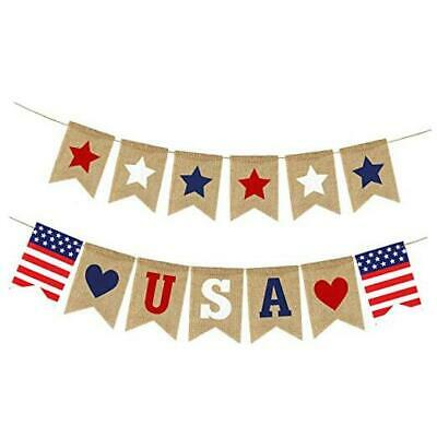 USA Banner Burlap- 4th of July Decorations- Rustic Patriotic Banner -Red White