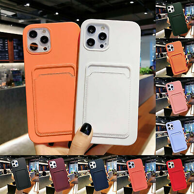 For iPhone 12 Pro Max 11 XS XR 8 7 Case Silicone Wallet Card Holder Slim Cover
