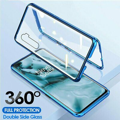 360° Case For OnePlus 7 8 Pro Magnetic Adsorption Double Tempered Glass Cover