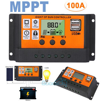 100A MPPT Solar Panel Regulator Charge Controller Auto Focus Tracking 60A 1224V