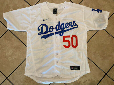 Mookie Betts 50 Los Angeles Dodgers Mens White Button Up Stitched Jersey